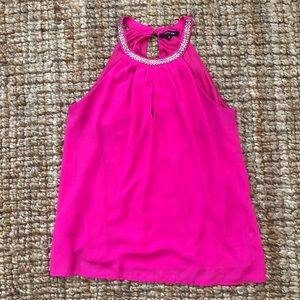 Hot pink high neck tank top w/ keyhole